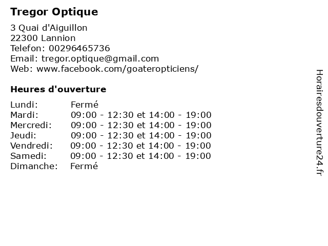 Tregor Optique à Lannion: adresse et heures d'ouverture