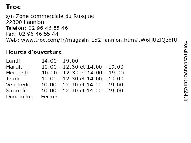 Troc à Lannion: adresse et heures d'ouverture