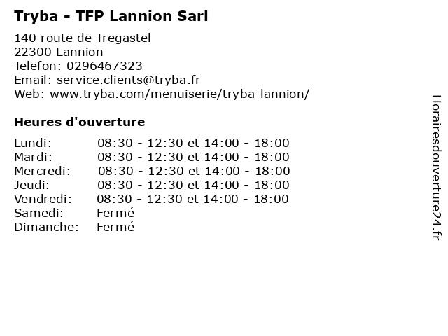 Tryba - TFP Lannion Sarl à Lannion: adresse et heures d'ouverture