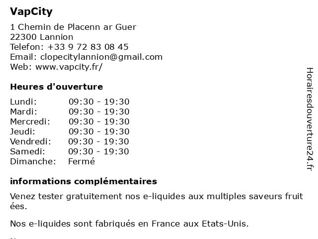 VapCity à Lannion: adresse et heures d'ouverture