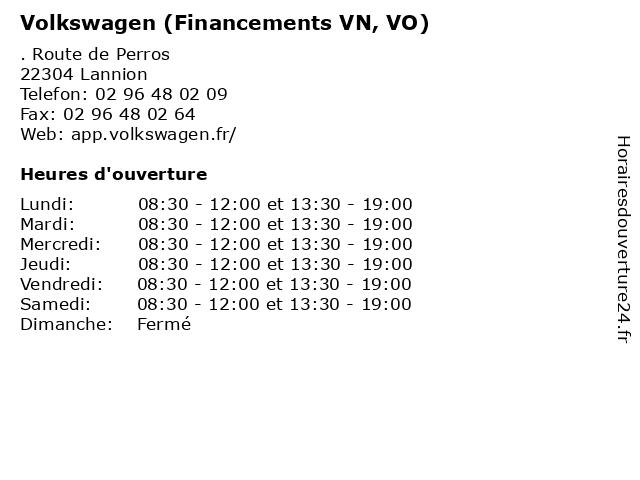 Volkswagen (Financements VN, VO) à Lannion: adresse et heures d'ouverture