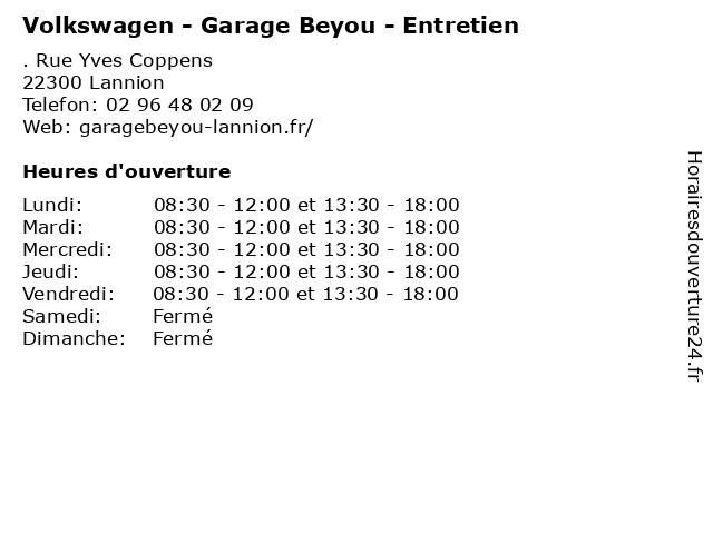 Volkswagen - Garage Beyou - Entretien à Lannion: adresse et heures d'ouverture