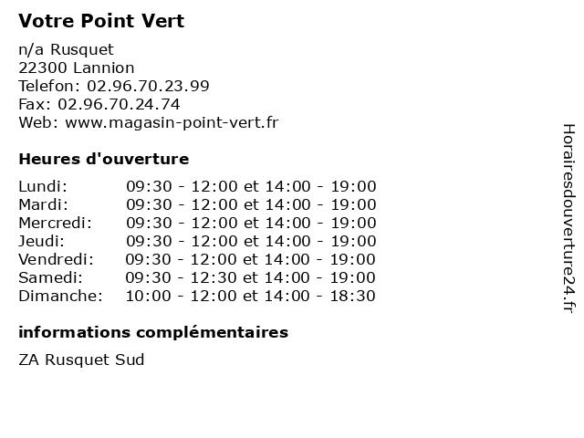 Votre Point Vert à Lannion: adresse et heures d'ouverture