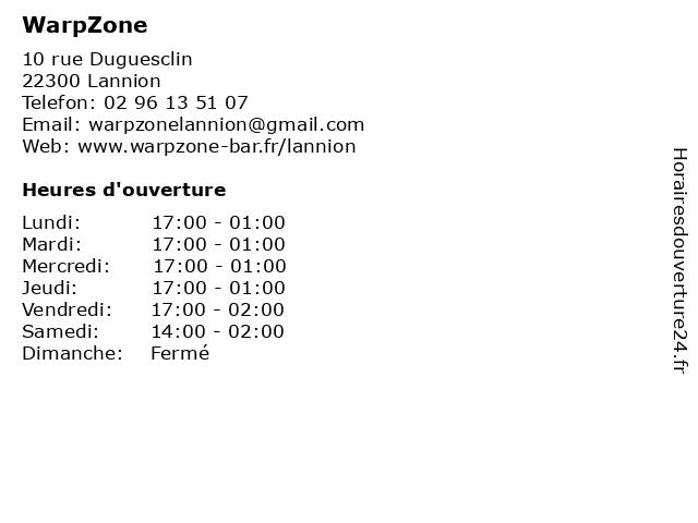 WarpZone à Lannion: adresse et heures d'ouverture