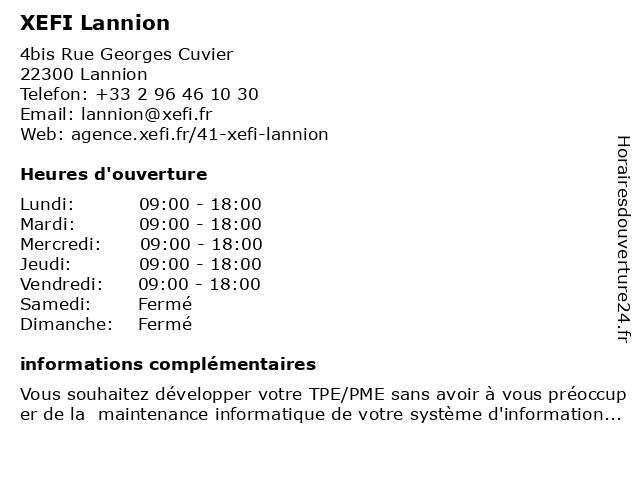 XEFI Lannion à Lannion: adresse et heures d'ouverture