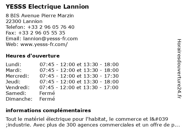 YESSS Electrique Lannion à Lannion: adresse et heures d'ouverture