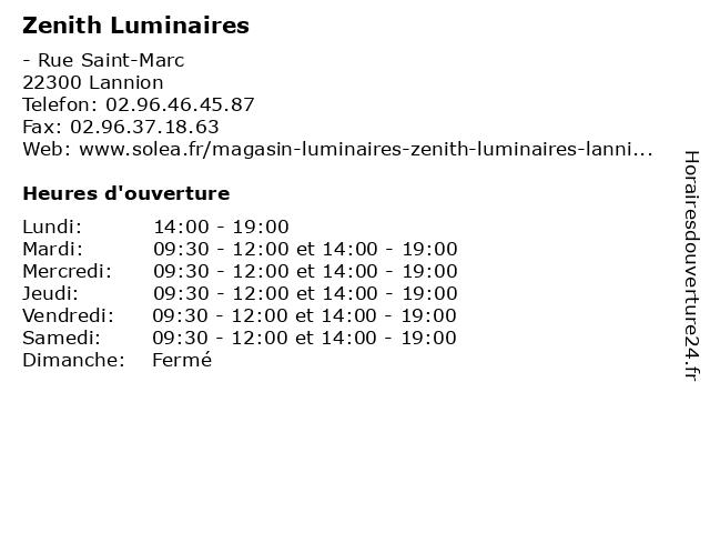 Zenith Luminaires à Lannion: adresse et heures d'ouverture