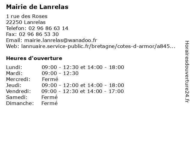 Mairie de Lanrelas à Lanrelas: adresse et heures d'ouverture