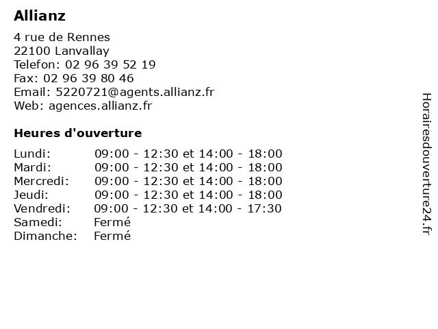 Allianz à Lanvallay: adresse et heures d'ouverture