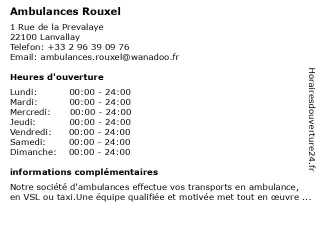 Ambulances Rouxel à Lanvallay: adresse et heures d'ouverture