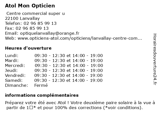 Atol Mon Opticien à Lanvallay: adresse et heures d'ouverture