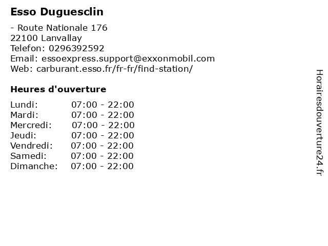 Esso Duguesclin à Lanvallay: adresse et heures d'ouverture