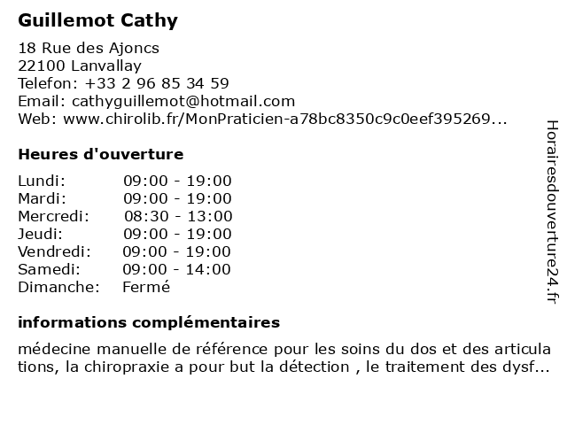 Guillemot Cathy à Lanvallay: adresse et heures d'ouverture