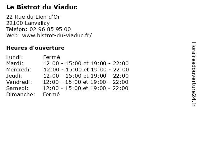 Le Bistrot du Viaduc à Lanvallay: adresse et heures d'ouverture