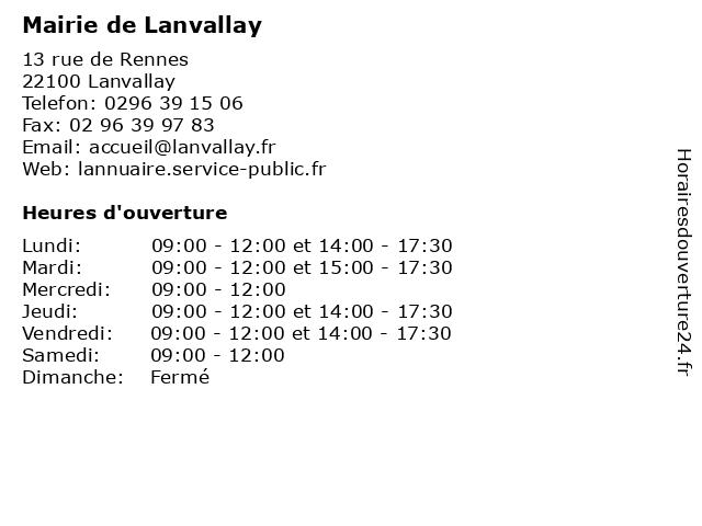 Mairie de Lanvallay à Lanvallay: adresse et heures d'ouverture
