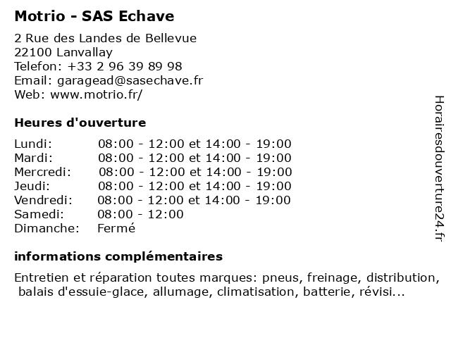 Motrio - SAS Echave à Lanvallay: adresse et heures d'ouverture
