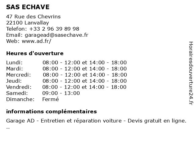 SAS ECHAVE à Lanvallay: adresse et heures d'ouverture