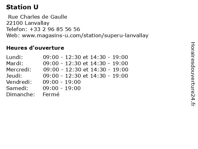 Station U à Lanvallay: adresse et heures d'ouverture