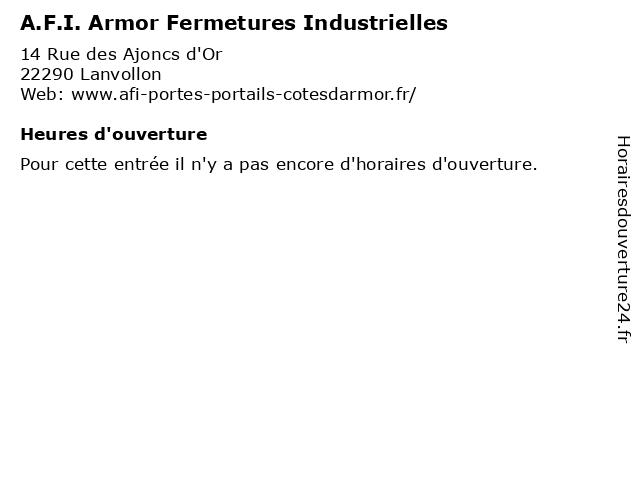 A.F.I. Armor Fermetures Industrielles à Lanvollon: adresse et heures d'ouverture