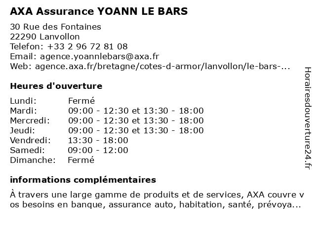 AXA Assurance YOANN LE BARS à Lanvollon: adresse et heures d'ouverture