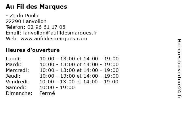 Au Fil des Marques à Lanvollon: adresse et heures d'ouverture