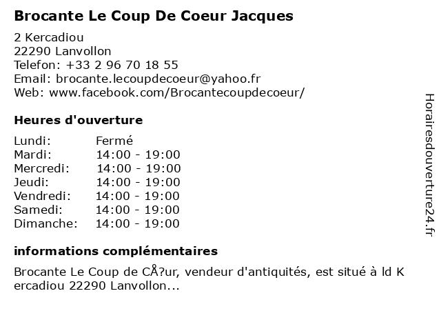 Brocante Le Coup De Coeur Jacques à Lanvollon: adresse et heures d'ouverture
