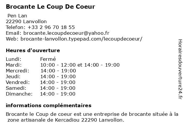 Brocante Le Coup De Coeur à Lanvollon: adresse et heures d'ouverture