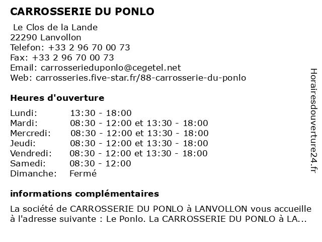 CARROSSERIE DU PONLO à Lanvollon: adresse et heures d'ouverture