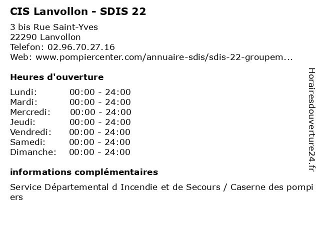 CIS Lanvollon - SDIS 22 à Lanvollon: adresse et heures d'ouverture