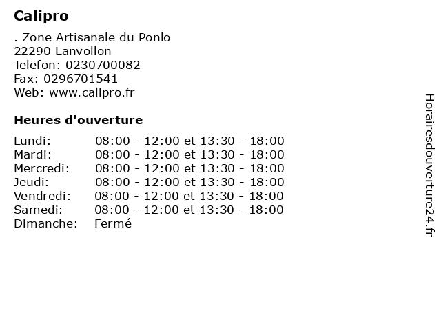 Calipro à Lanvollon: adresse et heures d'ouverture
