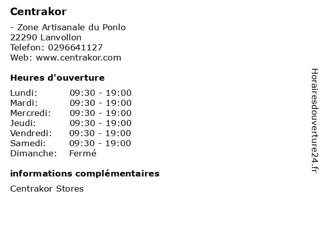 Centrakor à Lanvollon: adresse et heures d'ouverture