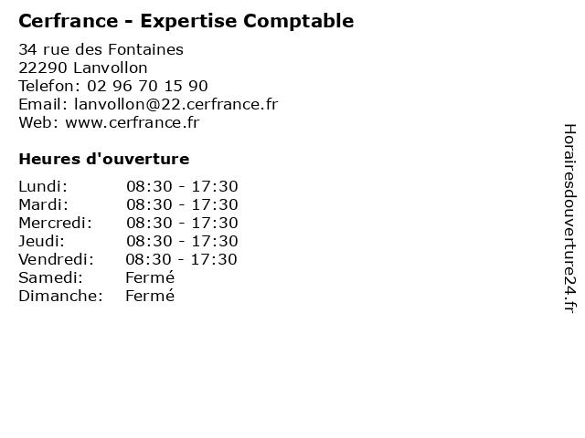 Cerfrance - Expertise Comptable à Lanvollon: adresse et heures d'ouverture