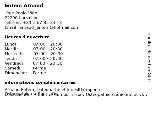 Entem Arnaud à Lanvollon: adresse et heures d'ouverture