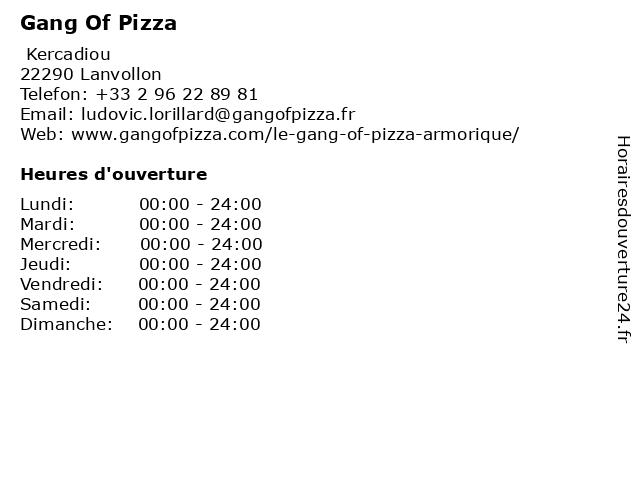 Gang Of Pizza à Lanvollon: adresse et heures d'ouverture