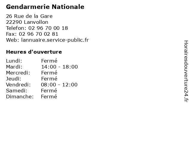 Gendarmerie Nationale à Lanvollon: adresse et heures d'ouverture