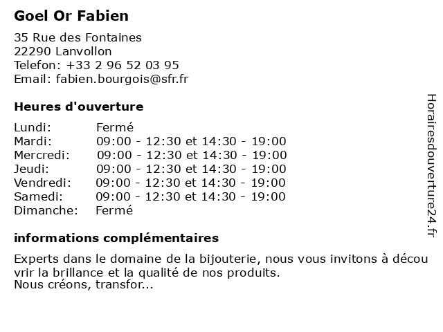 Goel Or Fabien à Lanvollon: adresse et heures d'ouverture
