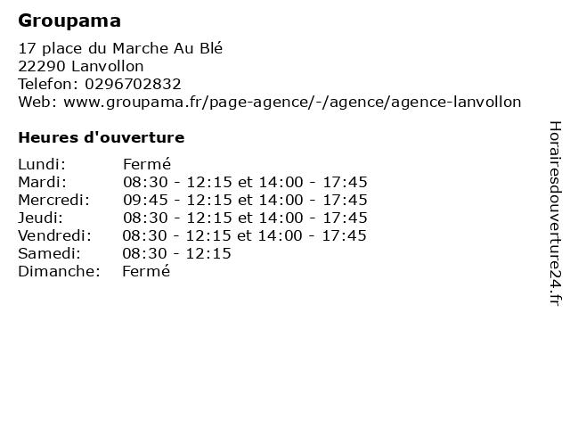 Groupama à Lanvollon: adresse et heures d'ouverture