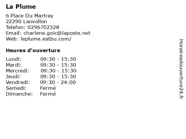 La Plume à Lanvollon: adresse et heures d'ouverture