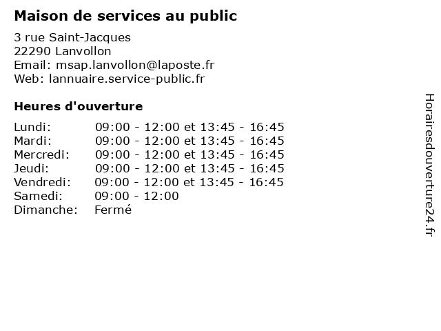 Maison de services au public à Lanvollon: adresse et heures d'ouverture