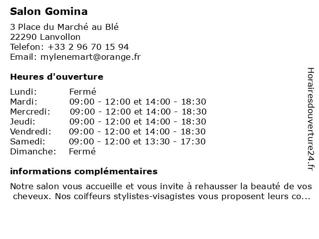 Salon Gomina à Lanvollon: adresse et heures d'ouverture