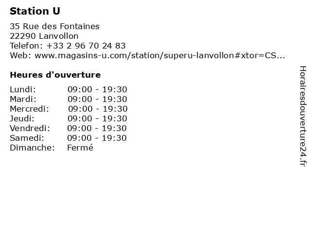 Station U à Lanvollon: adresse et heures d'ouverture