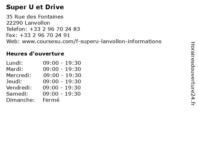 Super U et Drive à Lanvollon: adresse et heures d'ouverture