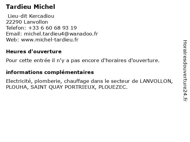 Tardieu Michel à Lanvollon: adresse et heures d'ouverture