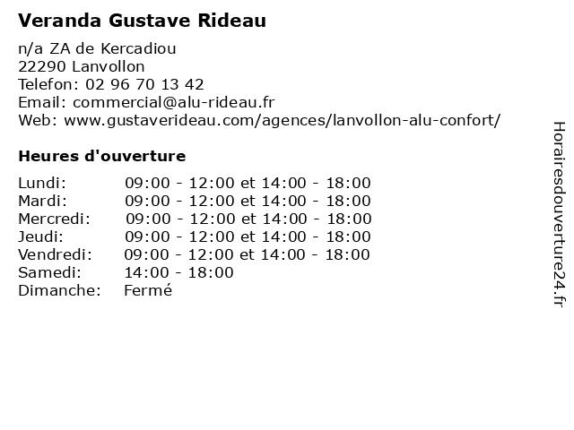 Veranda Gustave Rideau à Lanvollon: adresse et heures d'ouverture