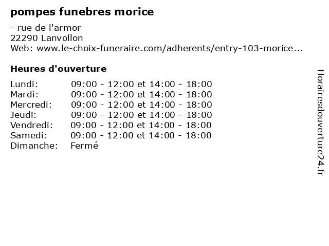 pompes funebres morice à Lanvollon: adresse et heures d'ouverture
