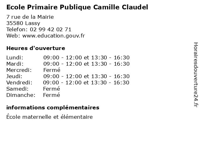 Ecole Primaire Publique Camille Claudel à Lassy: adresse et heures d'ouverture