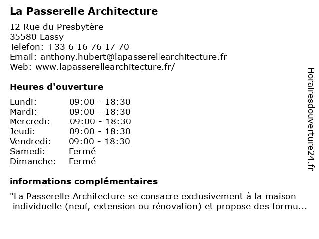 La Passerelle Architecture à Lassy: adresse et heures d'ouverture