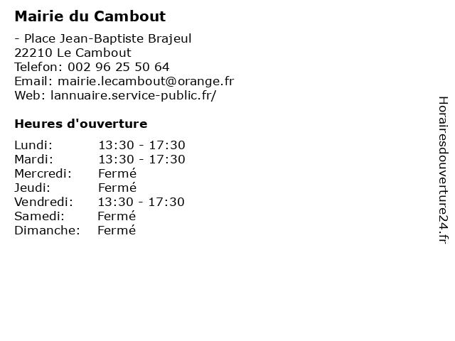 Mairie du Cambout à Le Cambout: adresse et heures d'ouverture