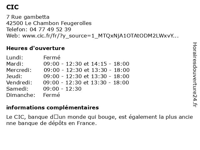 CIC à Le Chambon Feugerolles: adresse et heures d'ouverture