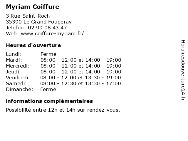Myriam Coiffure à Le Grand Fougeray: adresse et heures d'ouverture